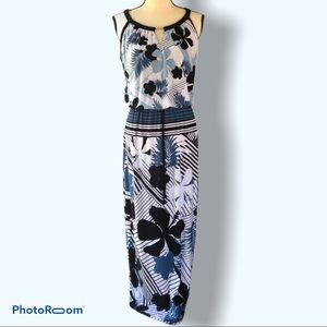 Enfocus | Blue Tropical Maxi Dress